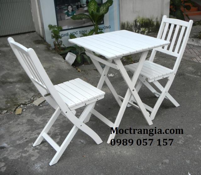 Bàn Ghế Quán Cafe - Ghế Gỗ Xếp_Moctrangia.com