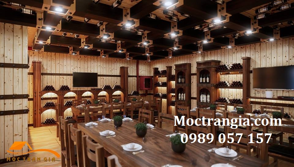 Thi Công Nhà Hàng Hầm Rượu Đẹp 224GT